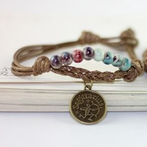 Jewelry - Sagittarius Coin Ceramic Beaded Rope Bracelet